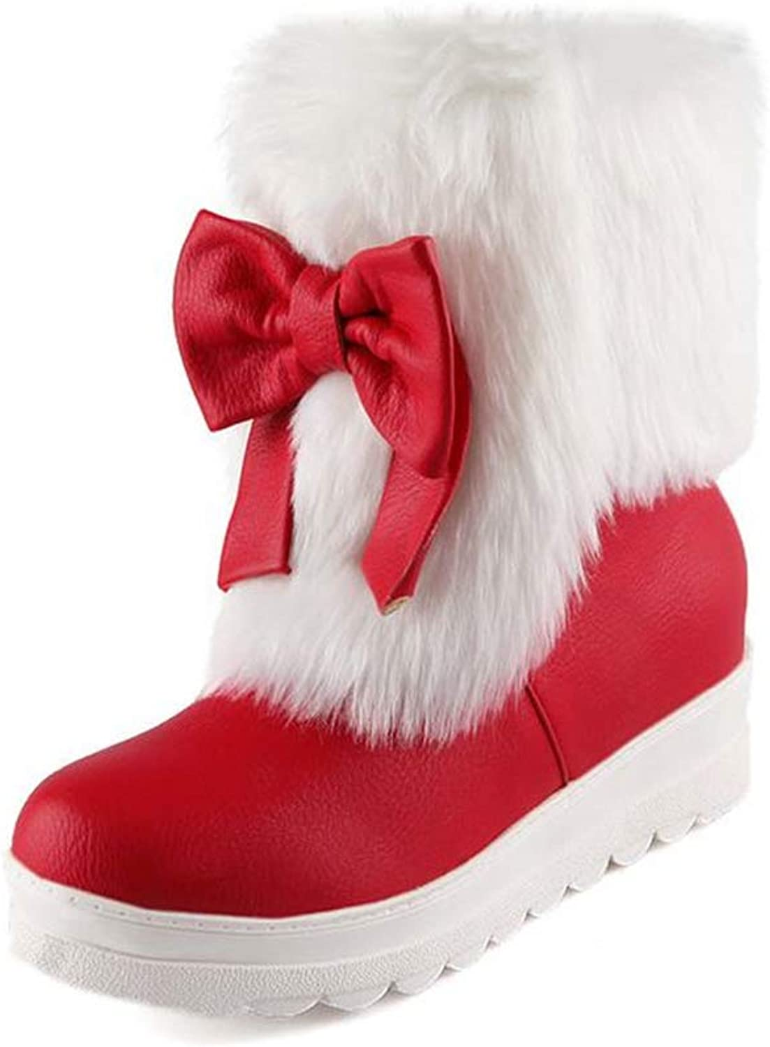 Women's Suede Flat Platform Sneaker shoes Fashion Winter Bow Cotton Christmas Snow Boots