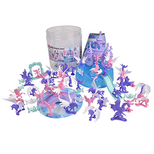 Sunny Days Entertainment Unicorn Dream Land Bucket – 71 Assorted Unicorns Fairies and Dragon Toy Play Set For Girls   Plastic Magic Sparkle Figures with Storage Container (005085)