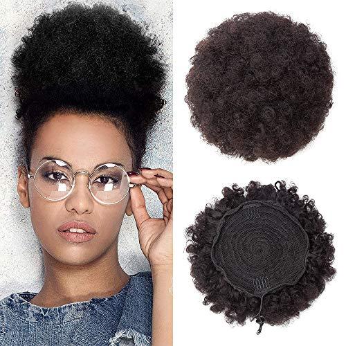 Chignon Cheveux Afro Cheveux Naturel - Extension en Vrai Cheveux Humains Postiche Hair Buns Scrunchie Updo Crépu Bouclé - #1B NOIR NATUREL (Taille Grande)