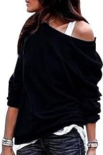 comprar comparacion Sudaderas Mujer Sudadera Hombros Descubiertos Chica Oversize Sudaderas Lisas sin Capucha Basicas Casual Anchas Jersey Cami...