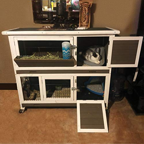 Aivituvin Rabbit Hutch Indoor and Outdoor 2- Story Bunny cage on Wheels - Deep No Leakage Pull Out Tray