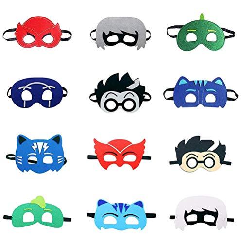 Miotlsy PJ Cartoon Heroes Filzmasken 12pcs Superheld Masken Superheld Party Masken Kinder Erwachsenenmaske Für Maskerade Geburtstagsfeier Weihnachten Halloween Cosplay Maske Party Jungen Oder Mädchen