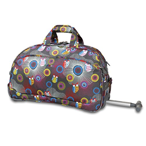 Graphic Forest Hunter Owls Design Rolling Lightweight Carry On Duffel Luggage, Geometric Stripes Spiral Dots Motif, Softside, Multi Compartment, Soft Travel Weekender Suitcase, Grey, Yellow, Size 20'