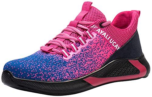 UCAYALI Zapatos de Seguridad con Punta de Acero para Mujer Zapatillas de Trabajo Puntera Reforzada Calzado de Protección Industria Construcción - Cómodos Ligeros y Antideslizantes(Rosa, 35)