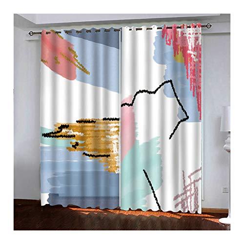 KnSam 2 cortinas de poliéster 98% bloquean la luz, cuadro abstracto con ojales, 264 x 274 cm, color blanco y azul