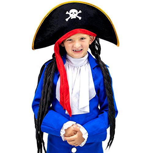 Pirate Hat with Dreadlocks – Pirate Costume Accessories for Dress Up, Parties & Halloween Costumes - Classic Caribbean Pirate Captain Theme Costumes, Dress Up, & Cosplay Black Headwear with Hair