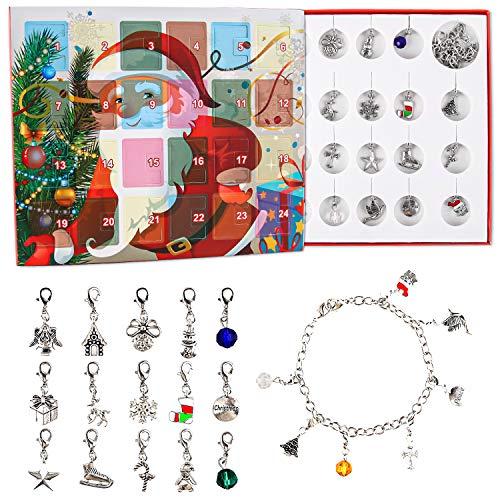 EKKONG Schmuck Adventskalender 2020, Damenschmuck Adventskalender, Adventskalender Kinder DIY Armband Halskette-Set, Modeaccessoires für Mädchen, Besondere Geschenke, 24 Weihnachtsüberraschungen