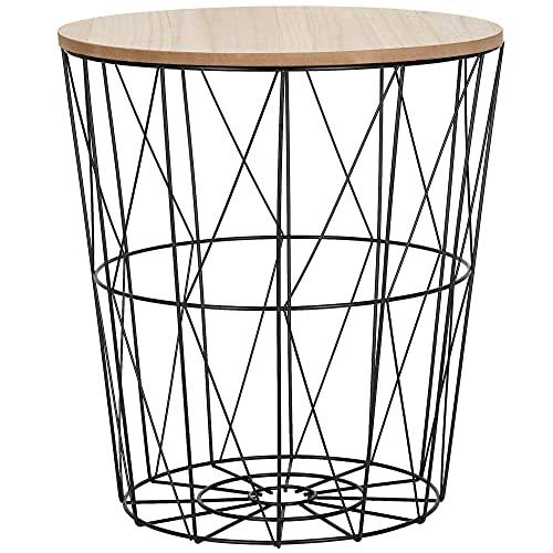 SPRINGOS, cestino con struttura in filo, con coperchio, tavolino da caffè, dimensioni: 35 x 30 cm (altezza x larghezza), rotondo, stile industriale (nero, naturale, 35 x 30 x 30 cm)