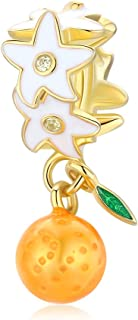 Abalorios de plata de ley 925 con diseño de frutas naranjas compatibles con pulseras Pandora