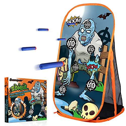Quanquer Toy Foam Blaster Shooting Practice Target for Nerf Toy Blasters - Zombie Shooting Target Toy Game with Net - Ideal Shooting Games Toy Gift for Boys Girls Indoor Outdoor Activity