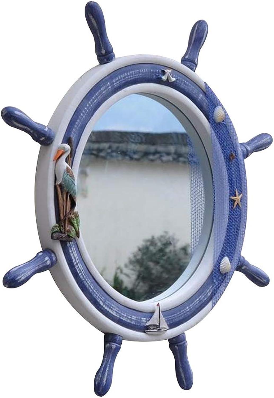 Mirror, Wooden Ship Helmsman Frame Bathroom Wall Mirror bluee Mediterranean Style Moisture Proof