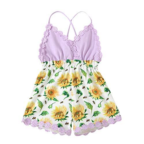 Kobay Kleinkind Baby Mädchen Rüschen Blumen gedruckt rückenfrei Hosenträger Strampler Jumpsuit