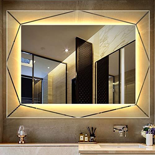 Wandspiegel Badspiegel Beleuchtete LED-Badezimmer-Spiegel der Wand befestigten Horizontale Vertikale Qualitäts-silberner Spiegel Exquisite Matte Technologie 60CM * 80CM ( Color : Warm yellow light )