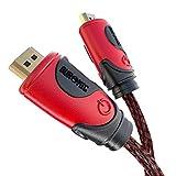 Duronic HDC03 / 1m High-Speed-HDMI-Kabel mit Ethernet - 2.0 4K 2160p Ultra-HD 3D - rot-schwarz - 1 Meter