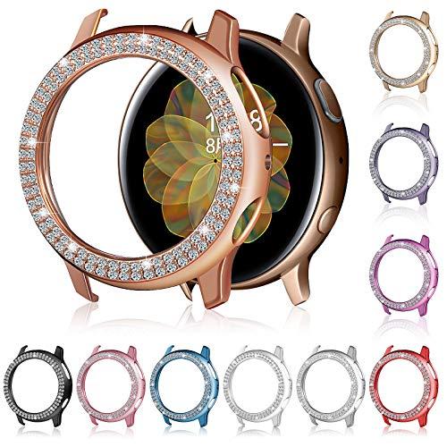 10 piezas de reloj protector de pantalla compatible con Samsung Galaxy Watch Active 2, Bling Crystal Rhinestone Watch Cover Cover plateado marco duro protector para niñas mujeres, 10 colores (40 mm)