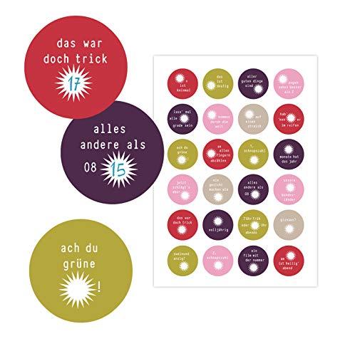 almira Design 24 Adventskalenderzahlen SPRUCHKNIFFL bunt Magnolienfarben, Adventskalender witzige Zahlenaufkleber, Sticker, Rätsel, Kinder, Sprüche, DIY, 40 mm