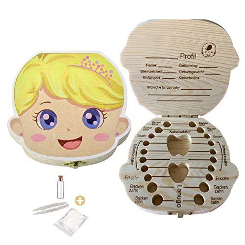 Zahnbox aus Holz,Milchzähne Box, Zahndose für Milchzähne, Milchzahndose, Zahndöschen für Kinder, Milchzahnbox, Zahnschachtel, Zahnbox für Geschenk (Mädchen)