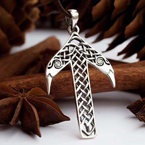 Viking Rune Tyr Tiwaz Necklace-925 Sterling Silver-Pendant with Celtic Knot and Raven Heads-Norse Mythology Amulet Talisman-Nordic Scandinavian Runic Jewelry for Men Women-Handmade