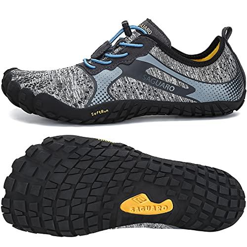 Mens Womens Barefoot Gym Walking Trail Running Shoes Beach Hiking Wide Toe Box Water Shoes Aqua Sports Pool Surf Waterfall Climbing Quick Dry Grey