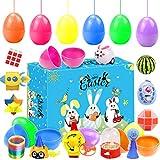 Mini giocattoli uova di Pasqua, 12 giocattoli per bomboniere a tema pasquale, riempitivi per cestini, decorazioni per feste di compleanno