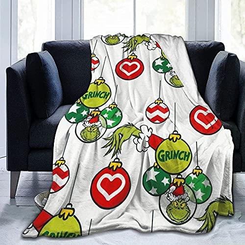 DZXWYM The Grinch - Juego de ropa de cama, manta de Navidad, manta para las cuatro estaciones, manta supersuave (Grinch-4, 100 x 150 cm)