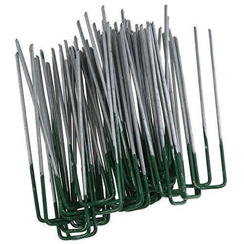 ENET 50X Half Green U Shape Pegs Nietjes Kunstgras Turf Pins Gegalvaniseerd ijzer