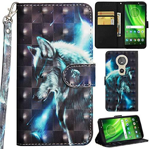 Ooboom Motorola Moto E5/G6 Play Hülle 3D Flip PU Leder Schutzhülle Handy Tasche Hülle Cover Ständer mit Trageschlaufe Magnetverschluss für Motorola Moto E5/G6 Play - Wolf