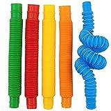 CaLeQi Mini Pop Stretch Sensory Fidget Tubes Juguetes, colorido juguete educativo Pop - Juguetes educativos sensoriales para el estrés, autismo, TDAH y ansiedad para niños y adultos, 5 piezas