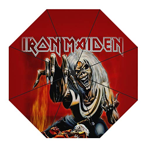 Bjhkmemg Iron Maiden Gran Paraguas - Palo Paraguas con Paraguas invertido Armada...