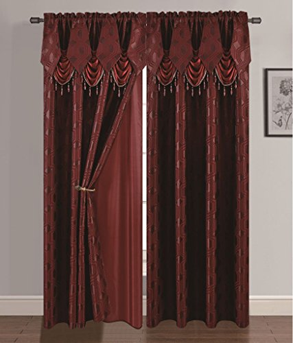 """Golden Linen Ragad Collection 2pc Curtain Set with Attached Valance and Backing 55""""X84"""" Each (Burgundy)"""