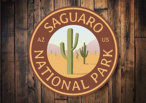 Saguaro National Park, National Park Sign, National Parks, Park Decor, Arizona Sign, AZ National Park, Cactus Decor, Cactus - Metal Sign, Aluminum Tin Plaque Wall Art Poster 12\