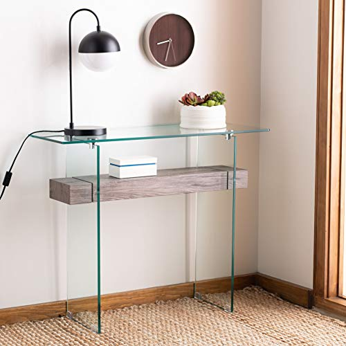 Safavieh Home Kayley Grey Oak and Glass Console Table
