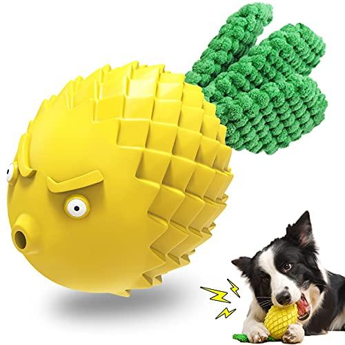 UniPlus 1er Kauspielzeug für Hunde Unzerstörbares Langlebiger Naturkautschuk Quietschspielzeug Intelligenz Hundespielzeug für Großer Mittlere Kleine Welpen Hunde, Zahnpflege Zahnbürsten Stick, Gelb