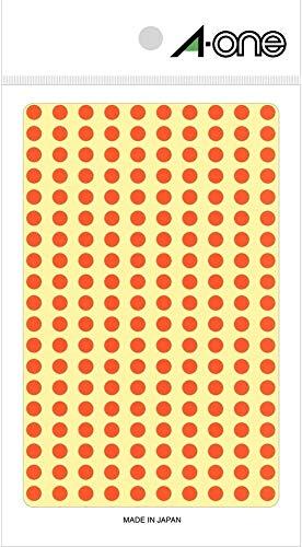 エーワン カラーラベル 橙 丸型 5mm 9シート 07065 【× 4 パック 】