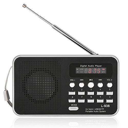 Zerone Ortable portátil Reproductor de Audio Digital de Alta fidelidad Altavoz de música Soporte FM Radio TF Tarjeta SD USB AUX con Pantalla Mundo Universal FM 87.5-108