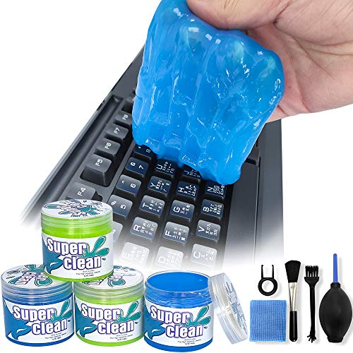 4 Pack Keyboard Cleaner, Dust Cleaning Gel with 5 Keyboard Cleaning Kit, Universal Car Cleaning Gel for Car Vent, Detailing Cleaning Gel Putty for Car Dash, Printers, Calculators, Speakers