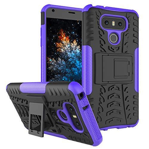 MRSTER LG G6 Custodia, [Heavy Duty Protezione] [Dual Layer] Difficile Silicone Kickstand Ibrida Shock Proof Cover Custodia Compatibile LG G6. Hyun Purple