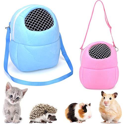 Yueser 2 Piezas Bolsa Portadora de Hamster M Rosa Bolsa de Transporte para Mascotas y L Azul Bolsos de Viaje Salientes para Hamster Ardilla Chinchilla Conejo y Mascotas Pequeñas ✅