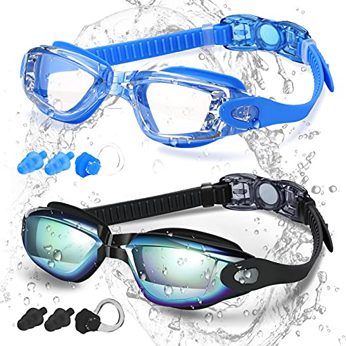 COOLOO Swim Goggles Men, 2 Pack Swimming Goggles for Women Kids Adult Anti-Fog