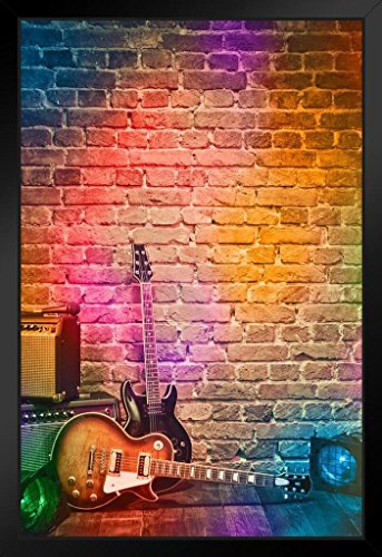 Colorful Spotlights on Brick Wall Music Stage with Instruments Photo Photograph Art Print Stand or Hang Wood Frame Display Poster Print 9x13
