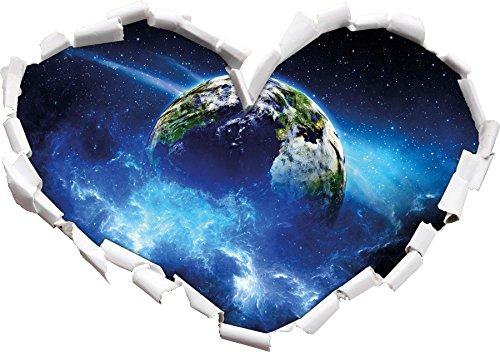 Forme de Coeur la planète Terre dans Le Regard 3D, Mur ou Une Porte Autocollant Format: 92x64.5cm, Stickers muraux, Stickers muraux, Wanddekoratio