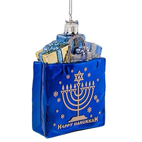 Kurt Adler 4' Noble Gems Happy Hanukkah Glass Gift Bag Ornament (NB1126)