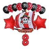 Xx101 Globo 13 unids/Set Pirate Boat Balloons 2.8g Skull Latex Globos 32'Número Globo cumpleaños Tema Fiesta decoración de Boda Suministros (Color : Dark Gray)