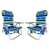 Rio Tommy Bahama 2020 Set of 2 Multi Striped Backpack Beach Chair with Large Storage Pouch