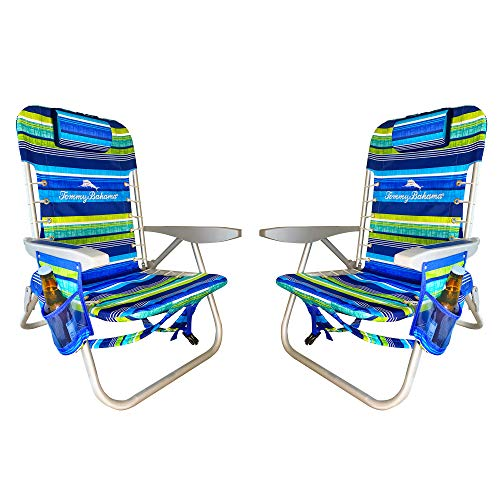 Tommy Bahama 2020 Set of 2 Multi Striped Backpack Beach Chair with Higher Seat and Large Storage Pouch