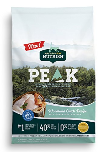 Rachael Ray Nutrish PEAK Natural Dry Cat Food, Woodland Catch Recipe with Chicken, Trout & Salmon, 3 Pounds, Grain Free