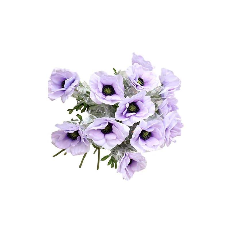lebritamfa 5pcs artificial pulsatilla chinensis 19″ stems fake anemone grecian windflower artificial silk flower bouquets room home decor flower arrangement wedding decoration (purple)