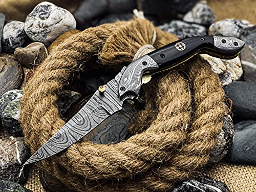 Beautiful Handmade Damascus folding knife for Men with Black Bull Horn Small Pocket Knife for Hunting Camping Hiking Damascus Hunting Knife Best EDC Camping Knife with with sheath