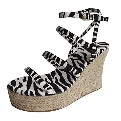 Sandalen voor dames en meisjes, plateausandalen met hak, sandalen, sleehak, Romeinse sandalen, sandalen, schoenen, sleehak, open schoenen, vrije tijd, elegante zomerschoenen, wit, 41 EU