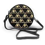 BAODANLA Bolso redondo mujer Women's Round Vegan Leather Crossbody Satchel Shoulder Handbag Gold Triangles Circle Tote Pouch Sling Bag For Girls Sling Bag
